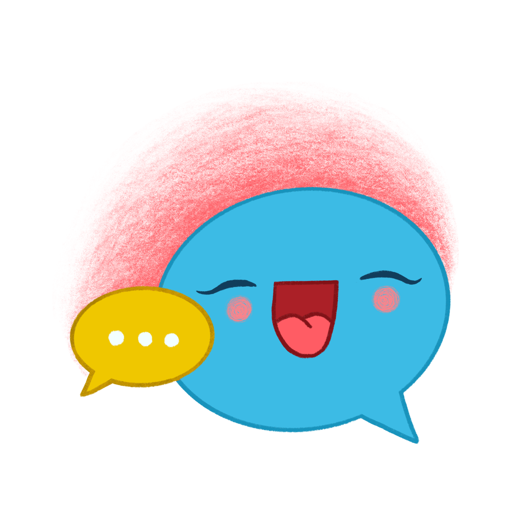 a colorful, happy speech bubble ready to chat