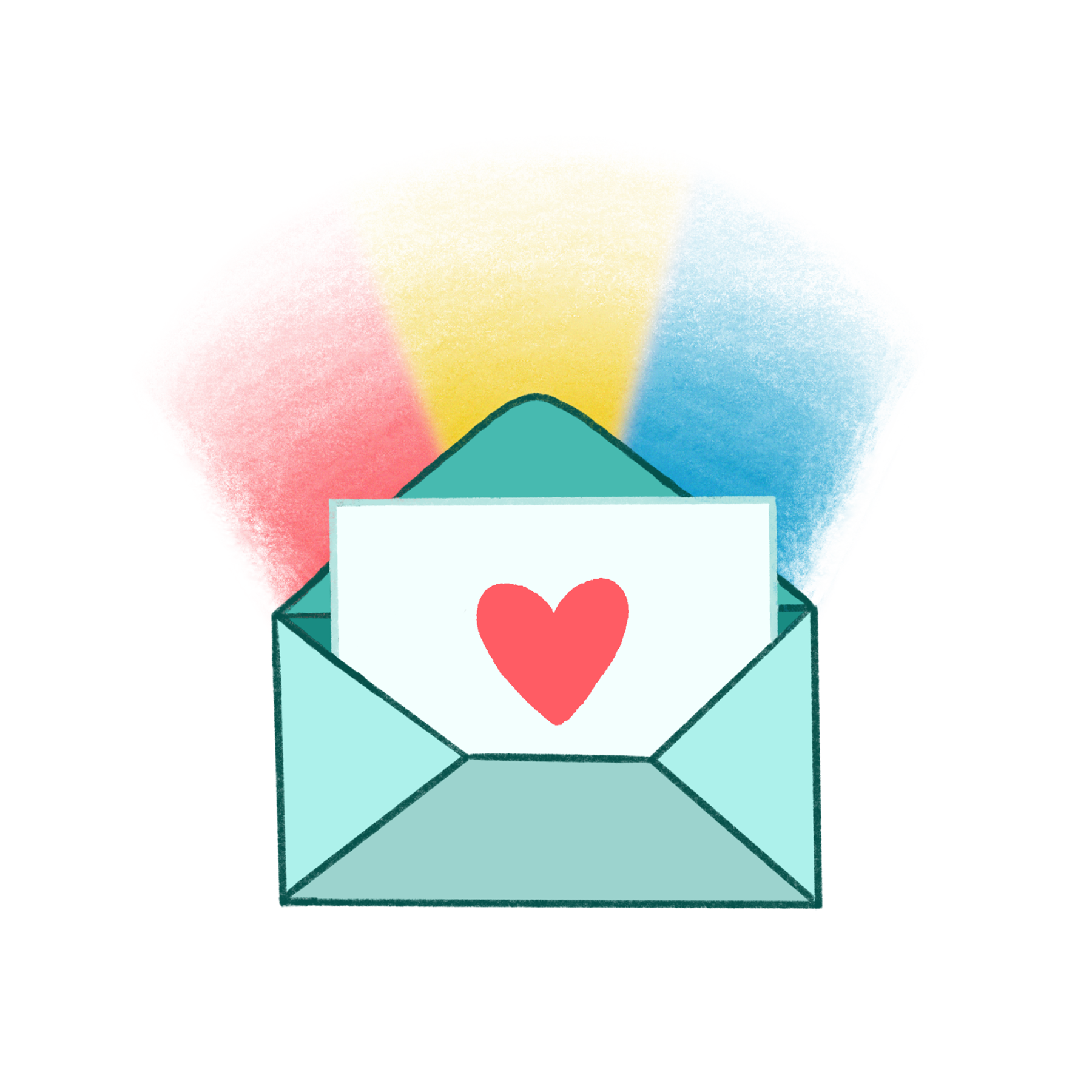 colorful community newsletter with a heart and rainbows