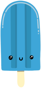 adorable blue popsicle smiling