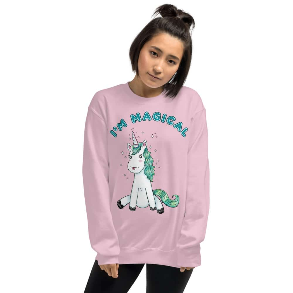 im magical unicorn sweatshirt in pink