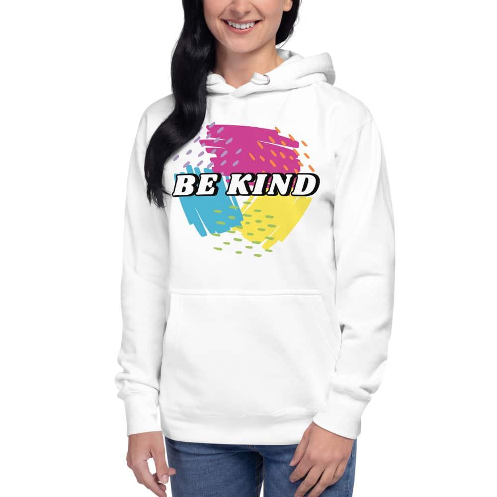 be kind unisex white hoodie