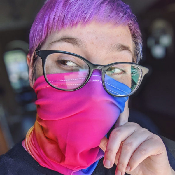 taylor wears face cover rainbow gradient mask