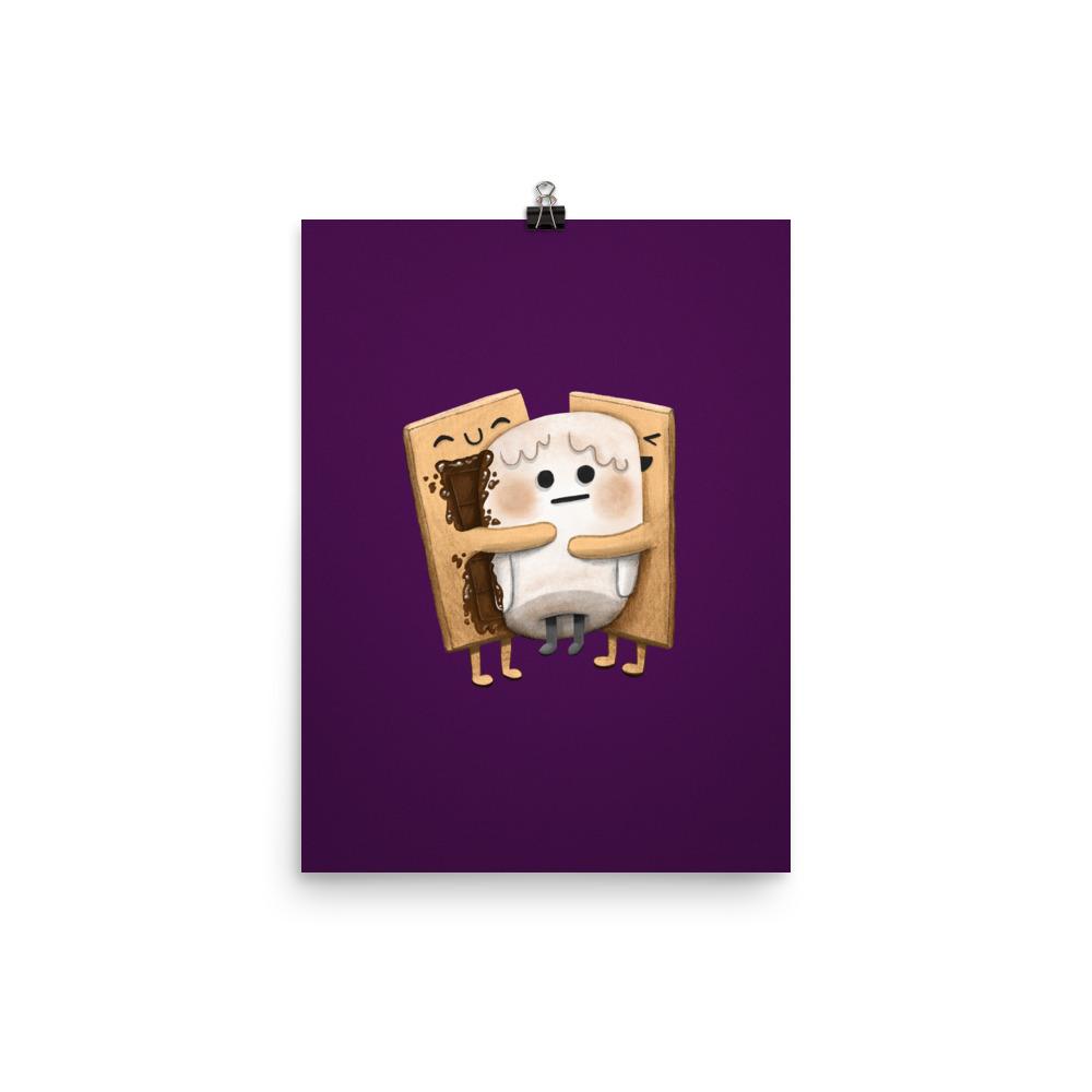 s'mores hugging poster print