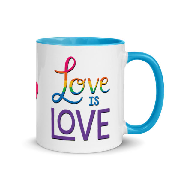 love is love mug with blue handle and inside