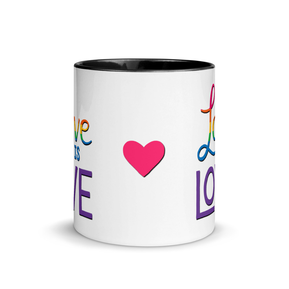 side view of pink heart on love is love mug with black handle and inside