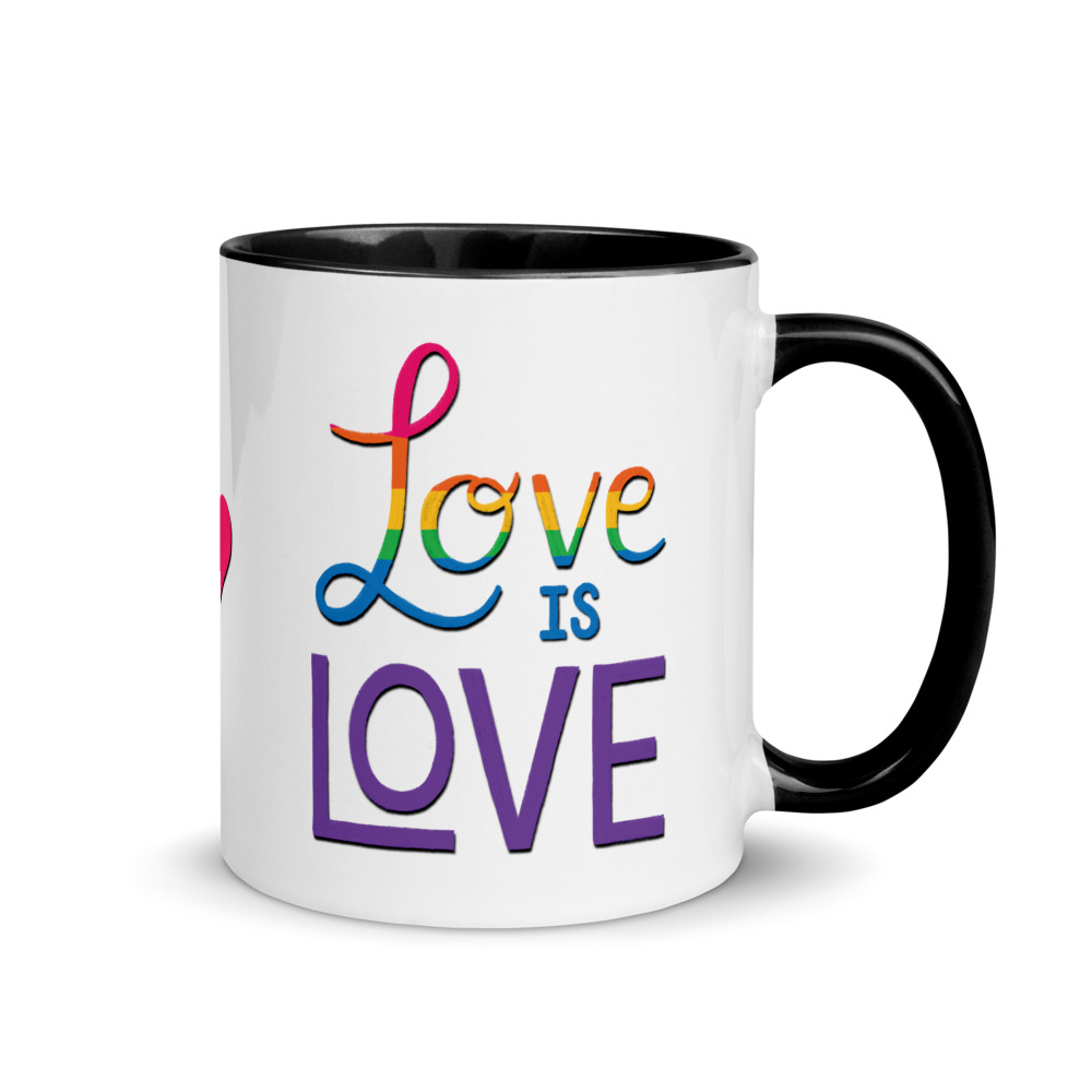 love is love mug with black handle and inside