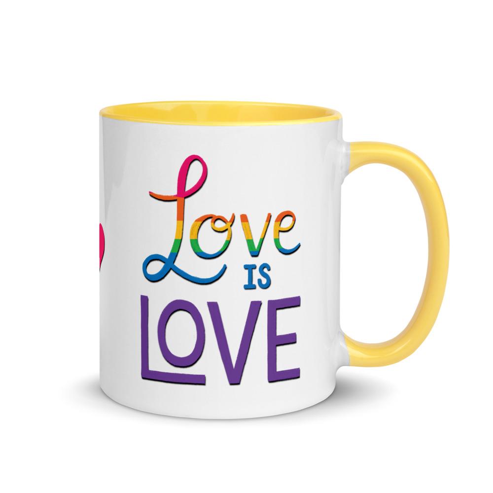 love is love mug with yellow handle and inside