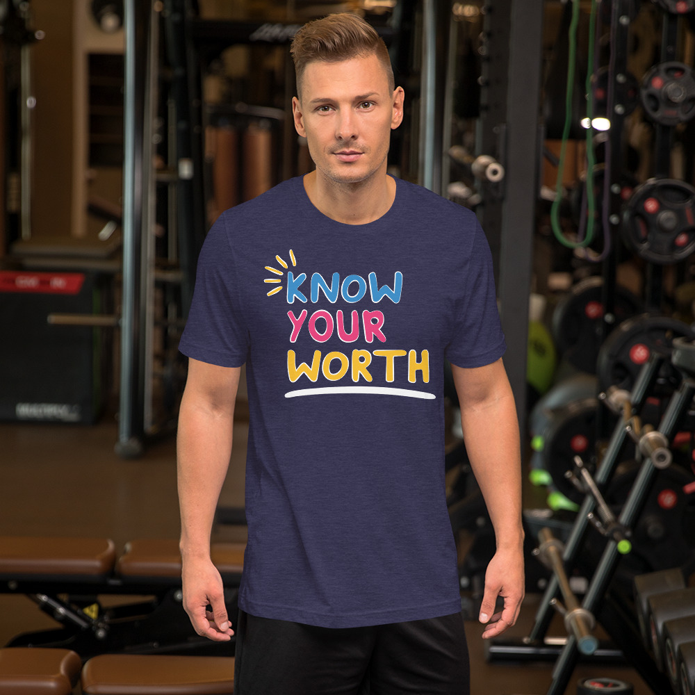 man wearing know your worth navy colored shirt