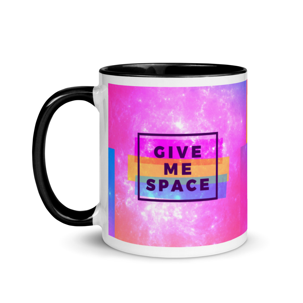 give me space mug with black handle and inside