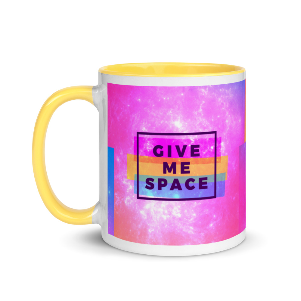 give me space mug with yellow handle and inside