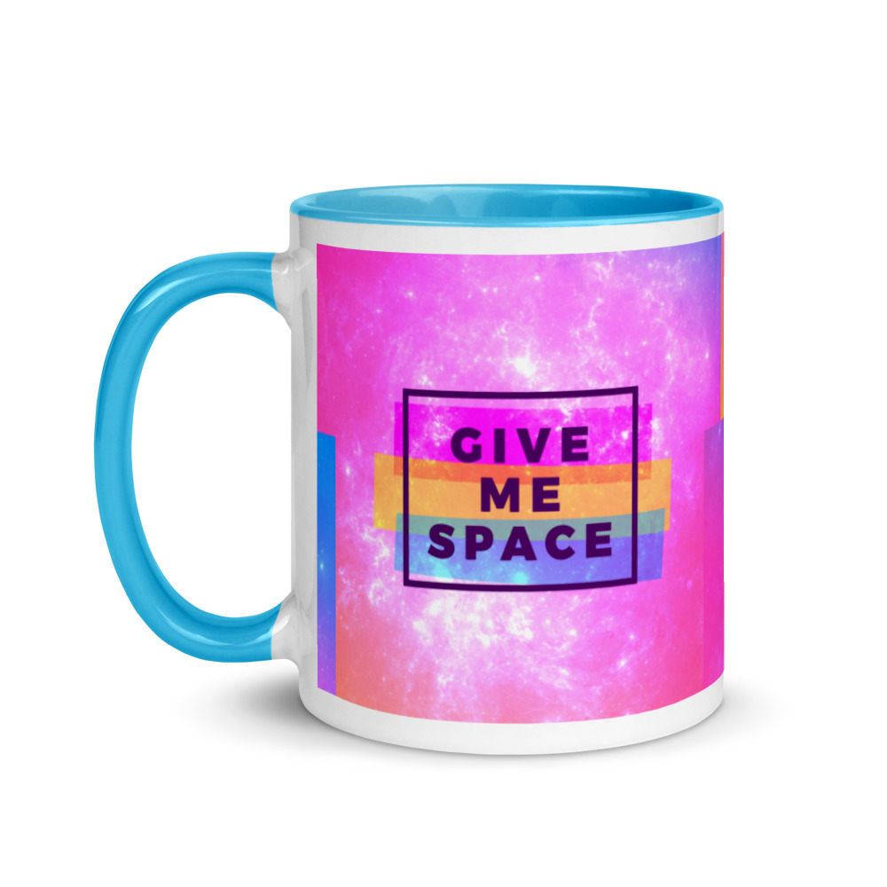 give me space mug with blue handle and inside