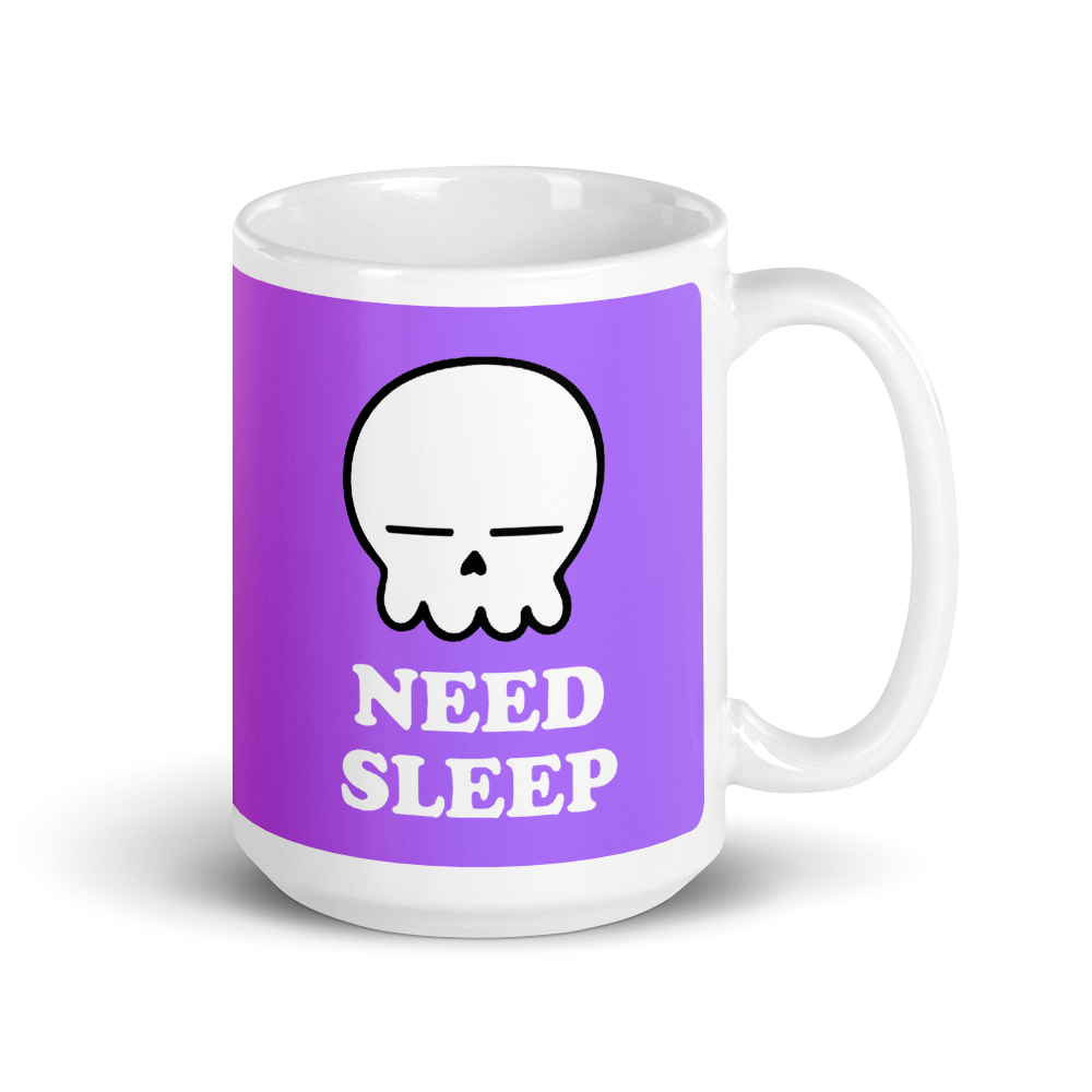a white mug with a purple background and the words need sleep and a sleeping skull above it