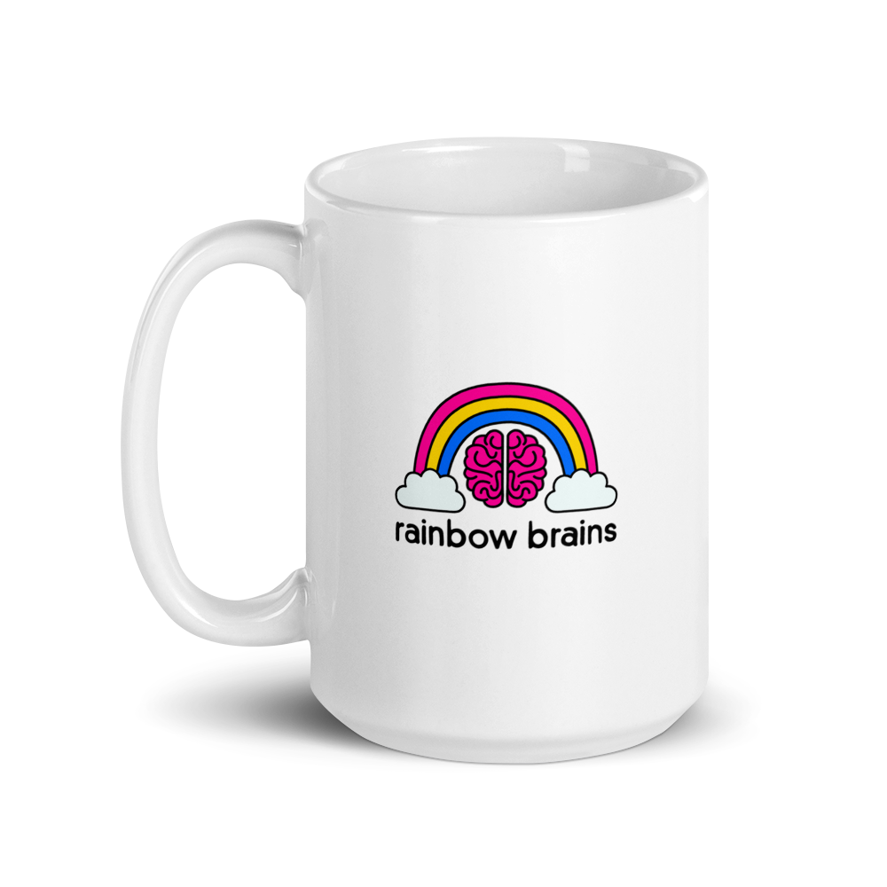 white mug with rainbow brains logo