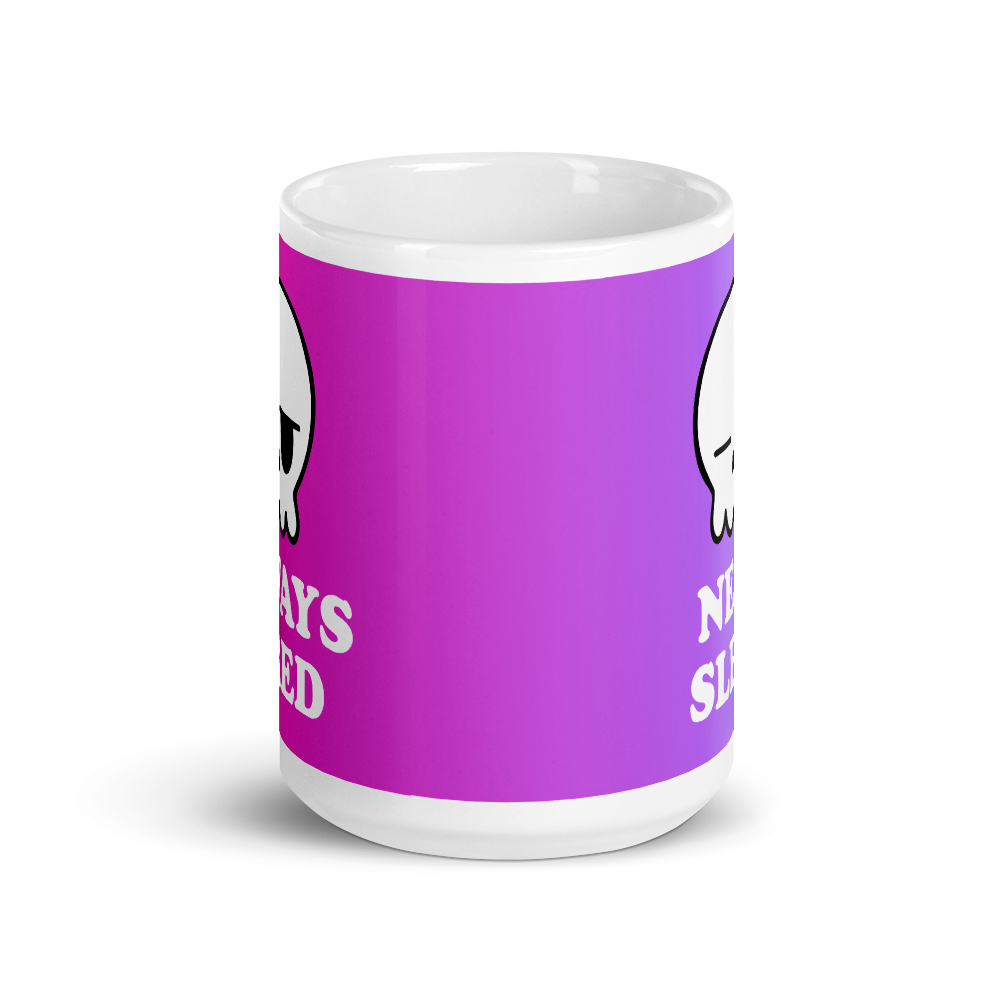 side of a purple and pink gradient mug